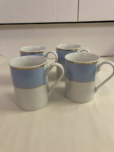 Doulton By Royal Doulton Bruce Oldfield 2004 Blue Set Of 4 Coffee Cups / Mugs