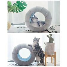 Rolled up tube Cat house felt &faux fur cat cave cat bed cat toy, grey& blue