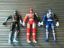 3x SET OF POWER RANGERS SPD BANDAI 2005 ACTION FIGURES 00 01 02 NO EXTRAS GOOD C