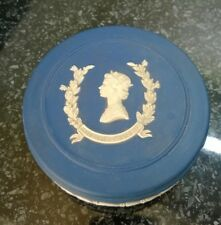 Vintage Dark Blue Wedgewood JapserWare  Queens Silver Jubilee Trinket Box Pot