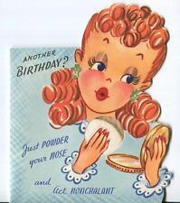 VINTAGE REDHEAD PINUP GIRL RED LIPSTICK NAIL POLISH POWDER PUFF GREETING CARD