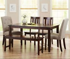 Dining Table Set 6 Piece Bench Kitchen Parson Chairs Wooden Breakfast Nook Wood