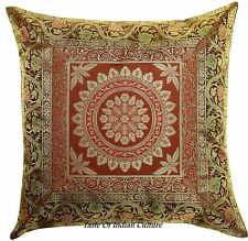 "Handmade Brown 17"" Mandala Cushion Pillow Cover Silk Brocade Jacquard Sofa Throw"