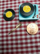 BARBIE DOLL 1960s Vintage Record Player with 2 records; unused hair barrett