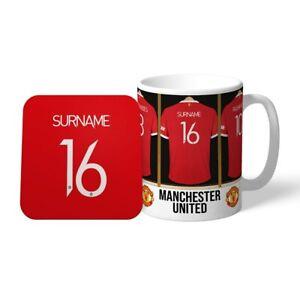 Manchester United F.C - Personalised Ceramic Mug & Coaster Set (DRESSING ROOM)