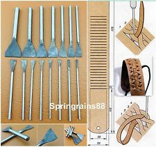 15pcs Leather Craft Slotted Straight Flat Tip Punch Cut Chisels Tool Set Kit