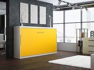 Schrankbett / Wandbett / Klappbett -Singlo-90x200 cm Quer- Holzfarbe: Weiß