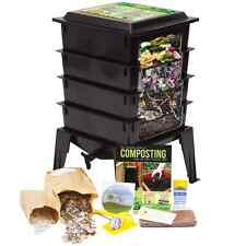 Worm Factory 360, 4-Tray Composter w/Worms by Nature's Footprint - Black