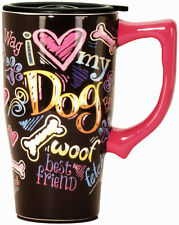 SPOONTIQUES 12432 DOG CHALKBOARD TRAVEL MUG