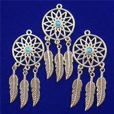 6Pcs Carved Tibetan Silver Inlay Turquoise Round Feather Pendant Bead D18073002