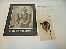 RARE ARTIST GERTRUDE ABERCROMBIE EXHIBITION CATALOG WITH SIGNED DON BAUM LETTER