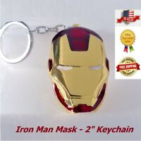 Marvel Avengers Iron Man Mask Keychain Red & Gold Mask Metal Keyring Cosplay New