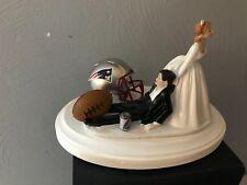 New England Patriots Cake Topper Bride Groom Wedding Funny Football Theme