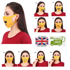 NEW Adult Funny Cute Emoji Printed Half Mouth Face Mask Cover Washable Reusable