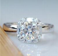 925 Sliver White Moissanite Engagement Wedding Ring Queen Gift Wholesale Sz 6-10
