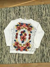 RARE 2Fitters White Rainbow Floral Rose Sweatshirt Size Large Baroque Givenchy