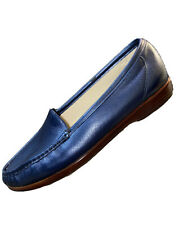 SAS Simplify Slip On Moccasin Loafer Womens 11W Wide Navy Blue Comfort Shoes