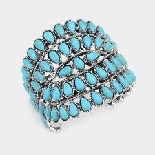 Chunky Metalwork Cabochon Squash Blossom Turquoise Stone Cuff Bracelet