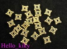 250Pcs  Antiqued gold plt beaded square spacer beads A147