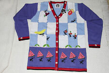 RARE NWT Womens STORYBOOK KNITS Blue White Ants Picnic Cardigan Sweater Size M