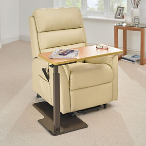 Universal Height Adjustable 360 Pivot Over Chair Wood Grain Laminate Table .