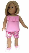Pink Tank Top w/Ruffle & Floral Shorts fits 18 inch American Girl Doll Clothes