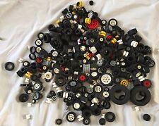 Lego Wheel Tire lot black car brick parts & pieces vintage center hub red bulk