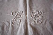 Drap 22 ancien en lin monogrammé blanc 220 x 270 cm