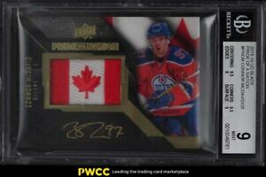 2015 UD Black Pride Of A Nation Connor McDavid ROOKIE RC PATCH AUTO /25 BGS 9 MT
