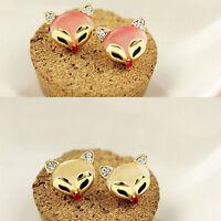 Fashion Korean Style Cute Fox Head Ear Stud Crystal Rhinestone Stud Earrings