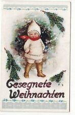 uralte AK Weihnachtskarte Kind im Winterwald Glitterdruck //36