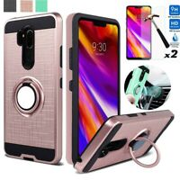 For LG G7 ThinQ Stand Phone Case Shockproof Cover With Glass Screen Protector