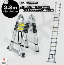 NEW 3.8m Multipurpose Telescopic Folding Ladder Aluminium Extension Steps Alloy