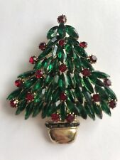 Stunning!! Vintage Signed Weiss Lg. Christmas Tree  Pin