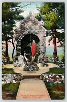 Prairie du Chien Wisconsin~Grotto St Mary's Academy~Statue in Shrine~1935