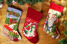 Beautiful Village Farm House Santa Cluas Snowman Needlepoint Christmas Stocking