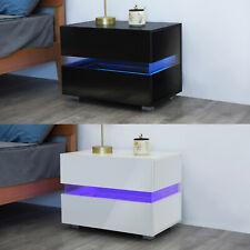 LED Table de Chevet Table de Nuit Haute Brillance avec 2 Tiroirs Noir/Blanc