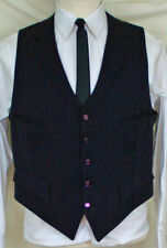 (Medium) Sharp Black on Black Stripe 4 Pkt 5 Button Vest with Notched Lapel