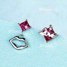925 sterling silver simulated diamond stud earrings sexy lip love small cute