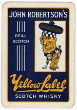 Playing Cards 1 Swap Card Old Vintage Wide JOHN ROBERTSON'S Whisky YELLOW LABEL