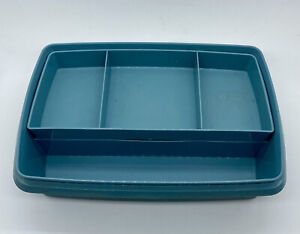 Vtg Retro Tupperware Tuppercraft Blue Stow N Go Divided Organizer Storage Box