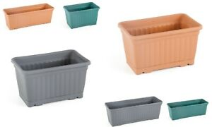 2x Window Sill Plastic Rectangle Plant Pots -Sizes 30cm or 50cm 3 Colours