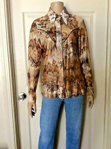 Vintage Woman's Ranch Wear Pearl Snap Western Shirt Horse Cattle Drive Print 38