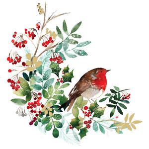 5 x Single Cocktail Napkins/3 ply/25cmDecoupage/Christmas/Robin/Foliage/Berries
