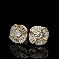 1CT Brilliant Round Baguette Cut Diamond Studs Earrings in 14K Yellow Gold Over