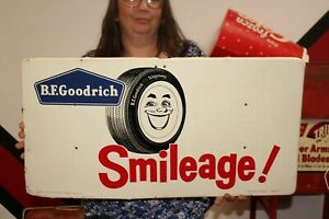 "Vintage 1959 B.F. Goodrich Tires Smileage Gas Station 28"" Metal Sign"