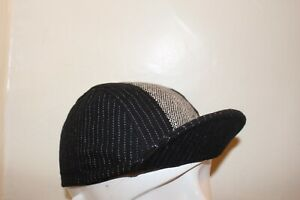 CYCLING CAP BLACK WOOL W/ GRAY STRAP WOOL   HANDMADE IN USA   S M L