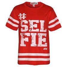 Girls Top Kids Designer's #Selfie Print American Baseball T Shirt Top 5-13 Years