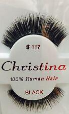 CHRISTINA FALSE EYELASHES #117_100% HUMAN HAIR ( 1 PAIR BLACK)