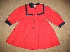 Vtg Rothschild Wool Red Dress Coat Jacket Girls Size 6 Winter Christmas Xmas Kid